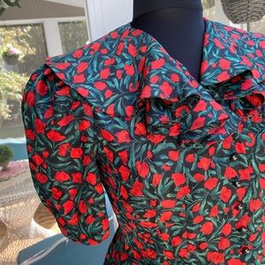 Vintage 80s does 40s Bold Floral Skirt Blouse Suit